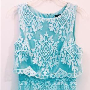 """Alice in Wonderland blue"" mint lace formal dress"